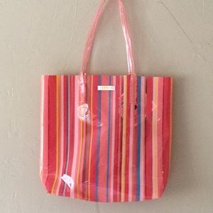 Summer Striped Vinyl Beach Bag See Through